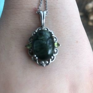 Jewelry - Deep green stone with peridot in sterling silver